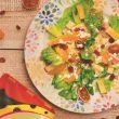 Krem ze skorzonery, sałatka z pomarańczami i pizza z ananasem