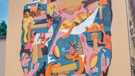 Wafelkowy mural na 25 urodziny Wafli Familijnych